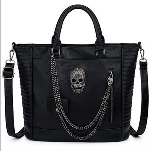 Skull Tote Bag Large Rivet Studded Handbag